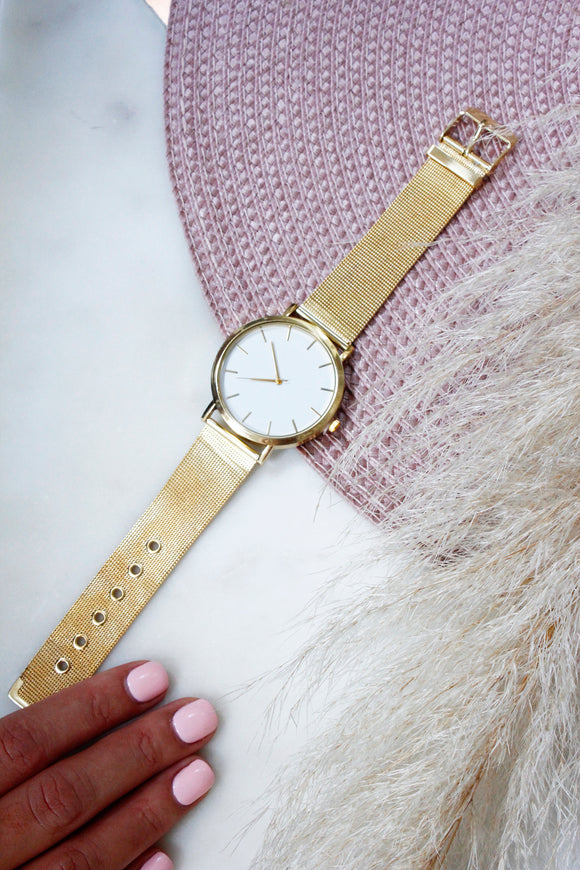 White Face Gold Metal Mesh Strap Watch