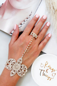 Gold Diamante Rhinestone Jewel Hand Ring Bracelet