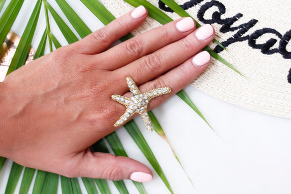 Diamante Starfish Cocktail Statement Ring