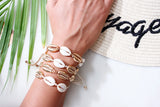 Gold Puka Shell Cream Thread Boho Bracelet