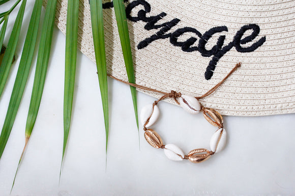 Gold Puka Shell Tan Thread Boho Bracelet