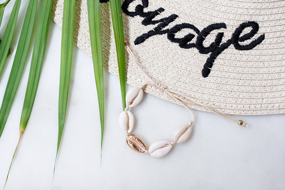 Single Gold Puka Shell Cream Thread Beach Boho Bracelet