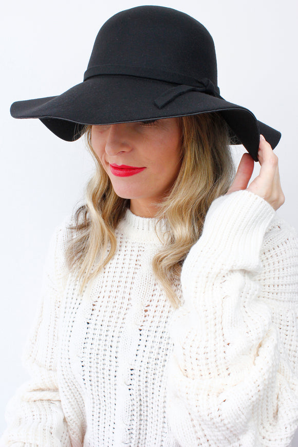 Black Boho Peasant Floppy Bow Wide Rim Fedora Bowler Hat