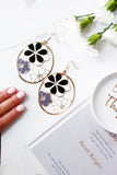 Gold Black & Grey Floral Print Disc Statement Earrings