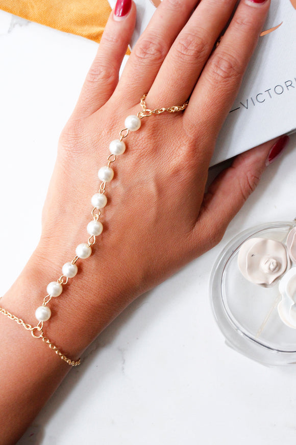 Gold Pearl Chain Ring Hand Bracelet