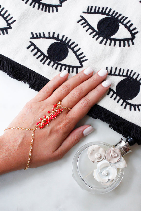 Gold Coral Beaded Chain Ring Hand Bracelet