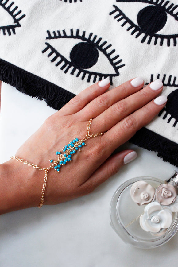 Gold Turquoise Beaded Chain Ring Hand Bracelet