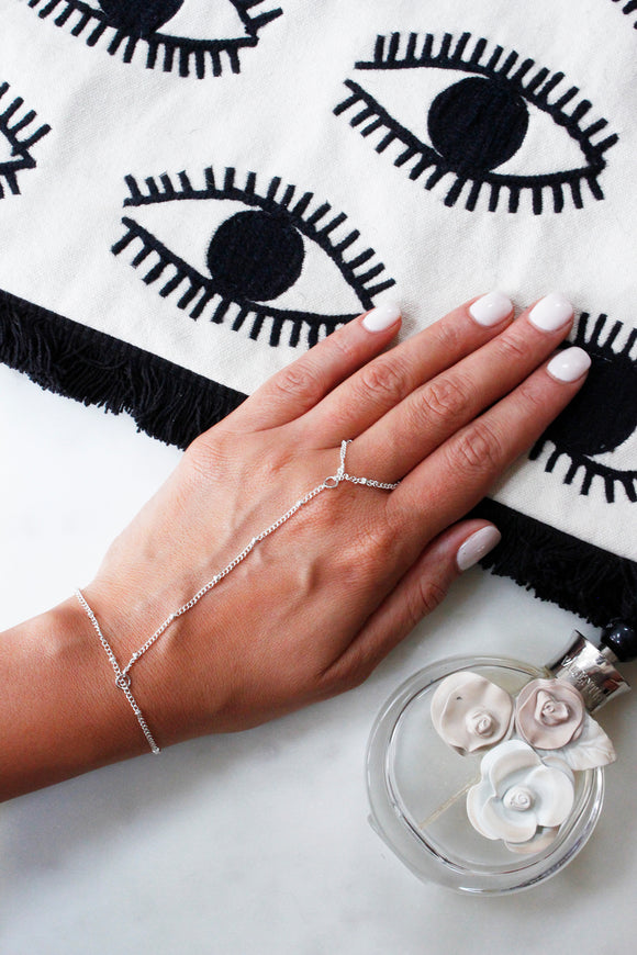 Silver Slave Chain Ring Hand Bracelet