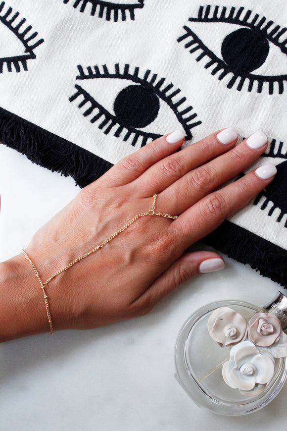 Gold Slave Chain Ring Hand Bracelet