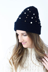 Black Pearl Gold Bead Ribbed Knitted Bean Hat