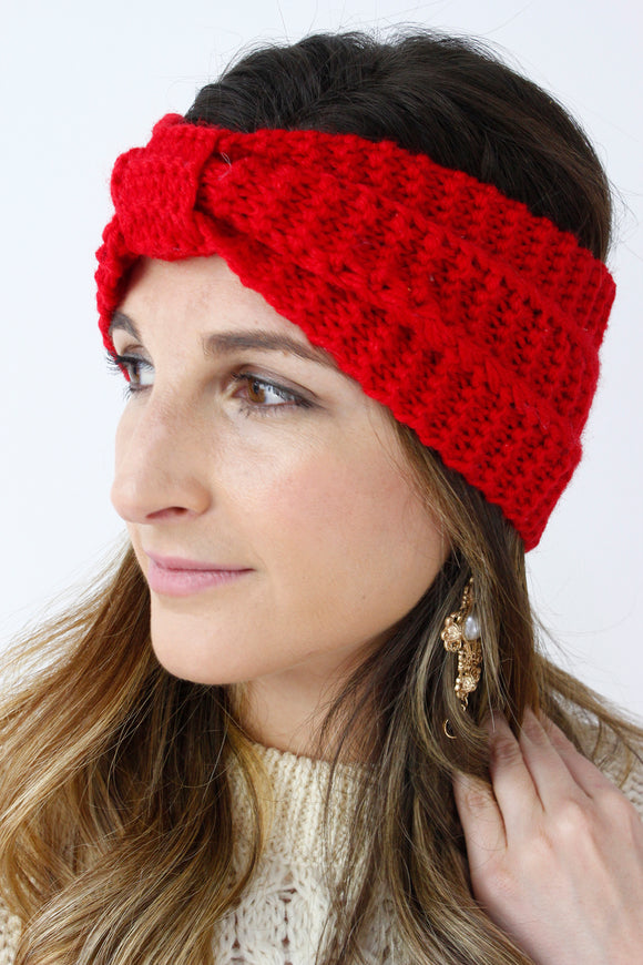 Red Ribbed Knitted Turban Headband
