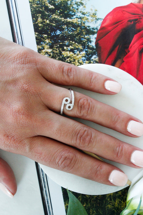 Silver Diamante 'Cancer' Zodiac Sign Cocktail Statement Ring