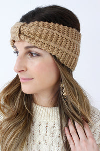 Camel Ribbed Knitted Turban Headband