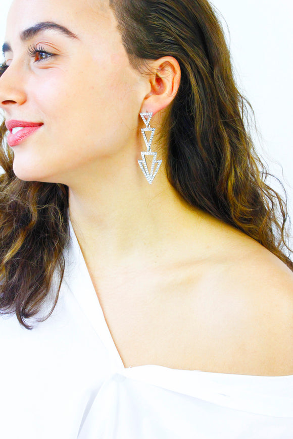 Diamante Triangle Chandelier Earrings