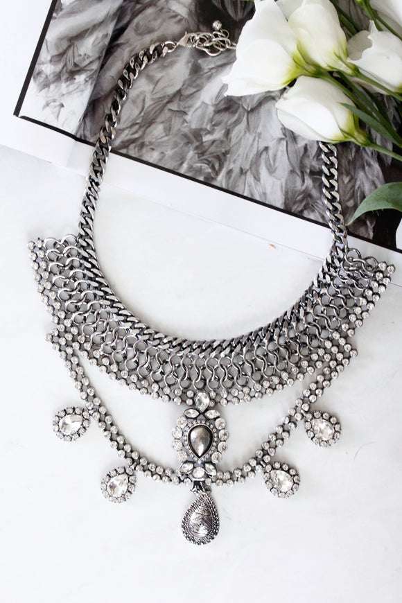 Silver Diamante Stone Chunky Statement Necklace