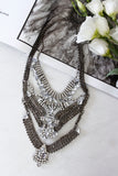 Silver Diamante Stone Layered Chunky Statement Necklace