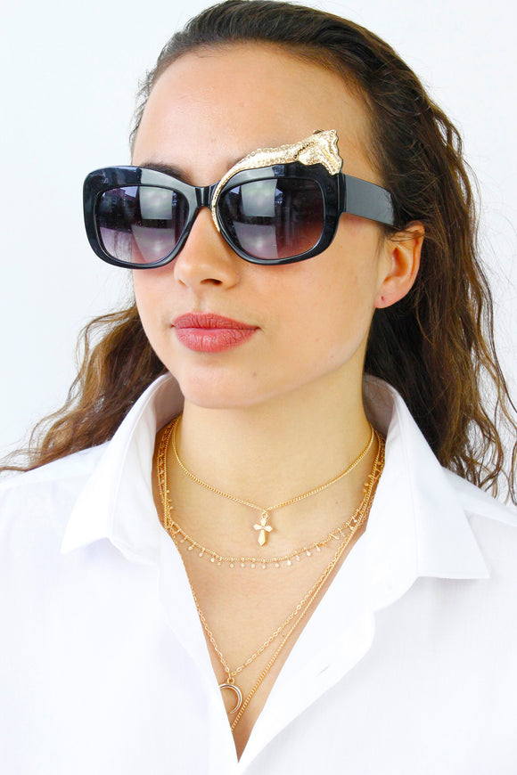 Gold Panther Oversized Sunglasses