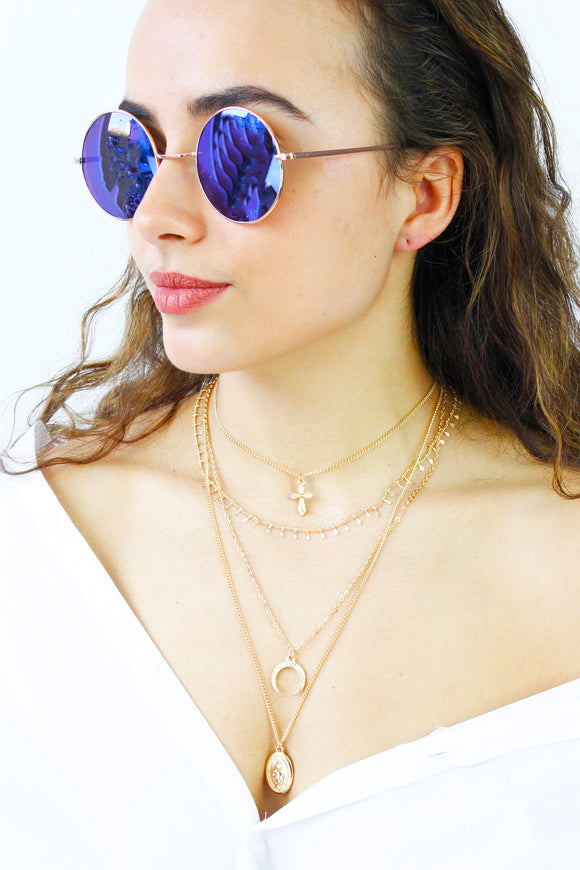 Rose Gold Blue Lens Round Sunglasses