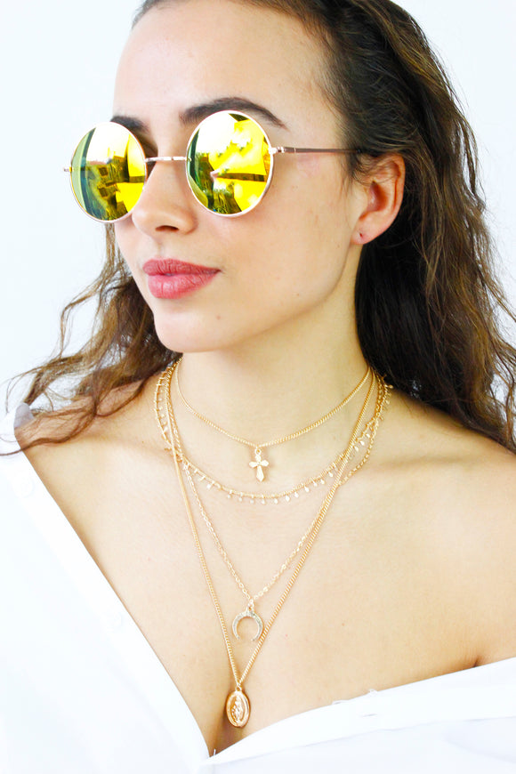 Gold Frame Yellow Lens Round Sunglasses