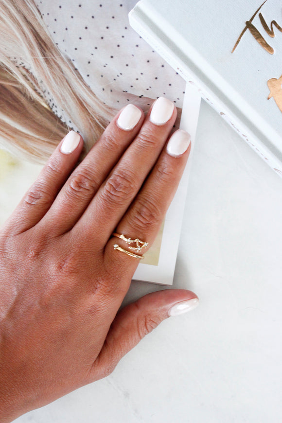 Gold Diamante 'Libra' Zodiac Sign Adjustable Cocktail Statement Ring