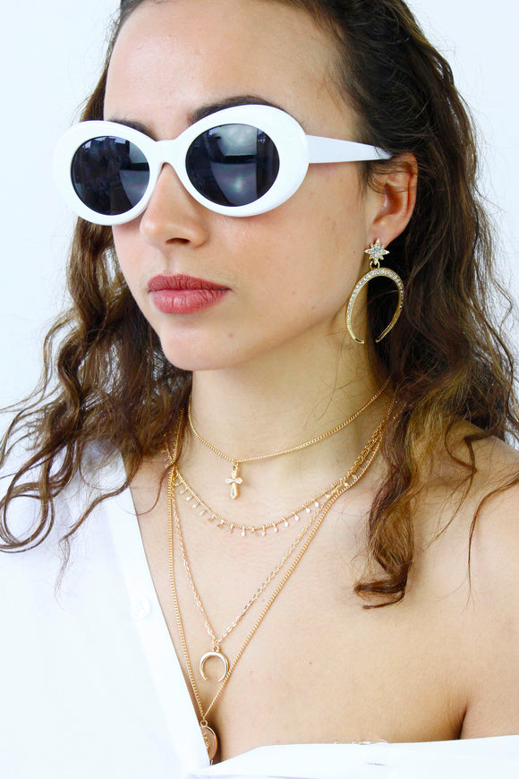 White Retro Oval Sunglasses