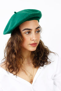 Green French Style Beret Hat