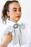Grey Chiffon Bow Tie Choker Statement Necklace