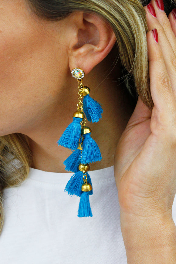 Blue Tassel Fringe Rhinestone Chandelier Drop Earrings