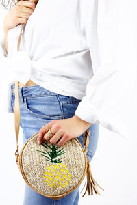Pineapple Woven Tassel Round Bag