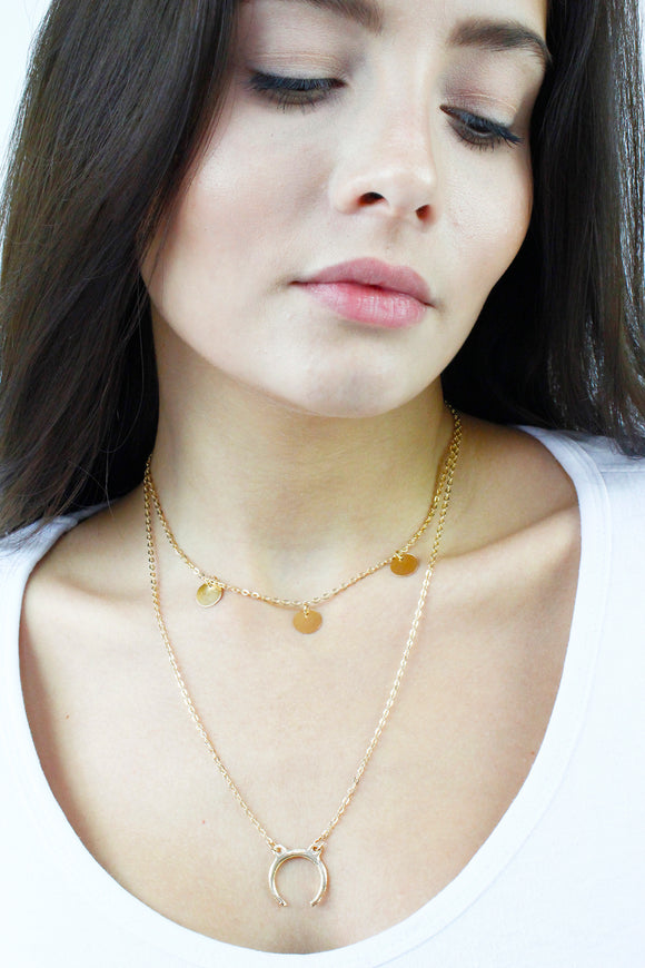 Gold Multirow Layered Moon Crescent Chain Boho Necklace