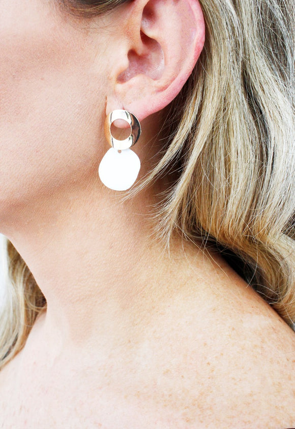 White & Gold Geometric Abstract Drop Earrings