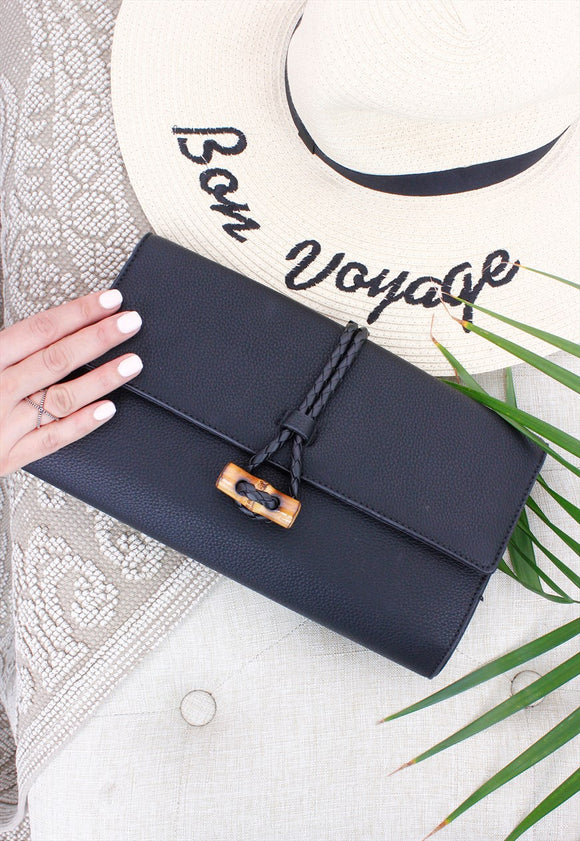 Black Bamboo Clasp Detail Clutch Bag