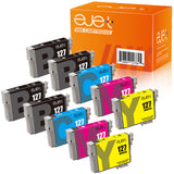 ejet Remanufactured Ink Cartridge Replacement for Epson 127 T127 to use with WorkForce WF-3520 WF-3530 WF-3540 WF-7520 645 545 630 840 845 Stylus NX625 (4 Black, 2 Cyan, 2 Magenta, 2 Yellow) 10 Pack