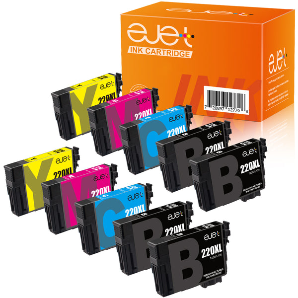ejet Remanufactured Ink Cartridge Replacement for Epson 220XL 220 XL T220XL to use with WorkForce WF-2750 WF-2630 WF-2650 WF-2660 WF-2760 XP-320 XP-420 (4 Black, 2 Cyan, 2 Magenta, 2 Yellow) 10 Pack
