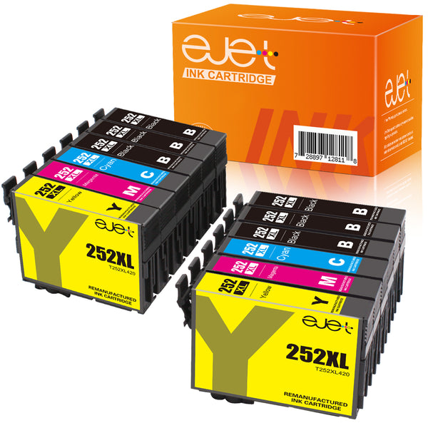 ejet Remanufactured Ink Cartridge Replacement for Epson 252XL 252 XL T252XL to use with WorkForce WF-7710 WF-7720 WF-3620 WF-3640 WF-7610 WF-7620 Printer (6 Black, 2 Cyan, 2 Magenta, 2 Yellow) 12 Pack