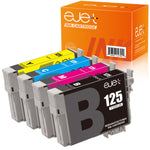 ejet Remanufactured Ink Cartridge Replacement for Epson 125 T125 to use with Stylu NX230 NX625 NX125 NX127 NX130 NX230 NX420 NX530 WorkForce 520 325 320 (1 Black, 1 Cyan, 1 Magenta, 1 Yellow) 4 Pack