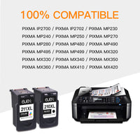 ejet Remanufactured Ink Cartridge Replacement for Canon PG-210XL CL-211XL 210 XL 211XL to use with IP2702 MX410 MP495 MX340 MX350 MP280 MP499 MP230 Printer, 2 Pack High Yield (1 Black 1 Tri-Color)