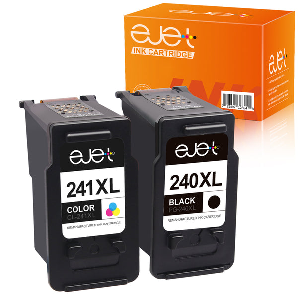 ejet Remanufactured Ink Cartridge Replacement for Canon PG-240XL CL-241XL 240 XL 241 XL for Pixma MG3620 TS5120 MG2120 MG3520 MX452 MX512 MX532 MX472 High Capacity Ink (1 Black, 1 Color, 2 Pack)