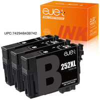 ejet Remanufactured Ink Cartridge Replacement for Epson 252XL 252 to use with WorkForce WF-7710 WF-7720 WF-3620 WF-3640 WF-7610 WF-7620 WF-3630 Printer (3 Black)