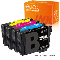 ejet Remanufactured Ink Cartridge Replacement for Epson 220XL 220 XL T220XL to use with WorkForce WF-2750 WF-2630 WF-2650 WF-2660 WF-2760 XP-320 XP-420 424 (1 Black, 1 Cyan, 1 Magenta, 1 Yellow)4 Pack