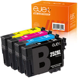 ejet Remanufactured Ink Cartridge Replacement for Epson 252XL 252 XL T252XL to use with WorkForce WF-7710 WF-7720 WF-3620 WF-3640 WF-7610 WF-7620 Printer (1 Black, 1 Cyan, 1 Magenta, 1 Yellow) 4 Pack