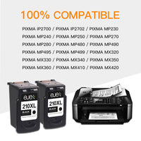 ejet Remanufactured Ink Cartridge Replacement for Canon 210 XL 210XL PG-210XL PG 210XL to use with PIXMA IP2702 MP230 MP240 MP250 MP280 MP480 MP490 MP495 MP499 MX320 MX330 MX340 Printer (2 Black)