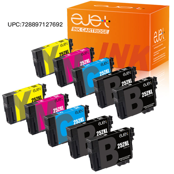 ejet Remanufactured Ink Cartridge Replacement for Epson 252XL (4 Black, 2 Cyan, 2 Magenta, 2 Yellow, 10-Pack), UPC:728897127708