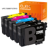 ejet Remanufactured Ink Cartridge Replacement Epson 220XL (2 Black, 1 Cyan, 1 Magenta, 1 Yellow, 5-Pack), UPC:728897127913