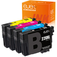 ejet Remanufactured Ink Cartridge Replacement for Epson 220XL (1 Black, 1 Cyan, 1 Magenta, 1 Yellow, 4-Pack), UPC:728897128088