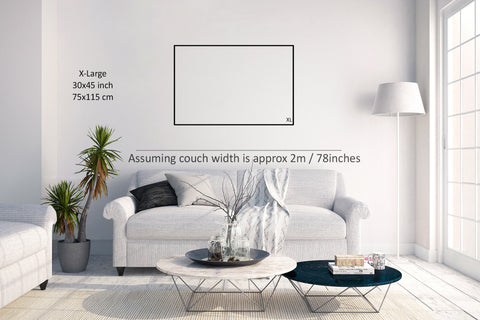 Wall Art Size Guide living room example XL size extra large wall art size 30x45 inches