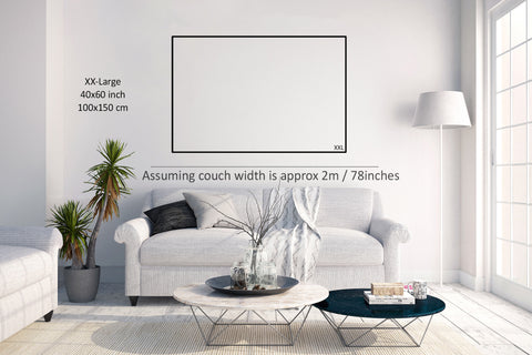 Wall Art Size Guide living room example XXL Extra-extra large wall art size 40x60 inches
