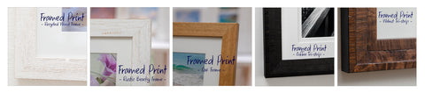 Detail close up shot of frame corners demonstrating the different types of frames available for wall art framed prints