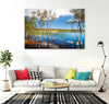 peaceful photograph of Brown Lake on North Stradbroke Island printed on canvas on a living room wall