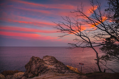sunset over Whale Rock with red clouds, rocks, cliff edge and trees and the ocean north stradbroke island